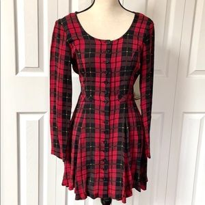 Vintage Betsey Johnson Button Down Plaid Dress
